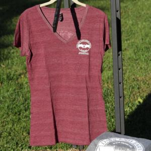 Ladies v neck tee shirt in maroon size small