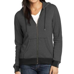 Ladies striped zip-up hooded sweatshirt in black and grey size small